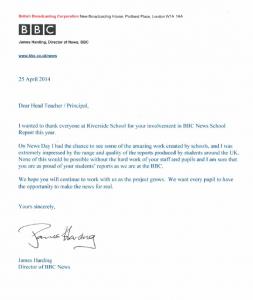 Letter. from James Harding